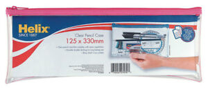 """HELIX PENCIL CASE [EXTRA LONG] """"CLEAR"""" & """"EXAM APPROVED"""" 330 x 125mm"""