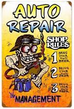 Hot Rod Body Shop Rules Auto Repair Metal Sign Man Cave Garage Club Decor MLK117