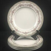 Set of 4 VTG Bread Plates Noritake Glenwood 5770 Pink Roses Platinum Japan