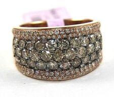 Round Brown Diamond Cluster Pave Dome Ring Band 14k Rose Gold 2.50Ct