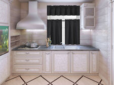 3PC SOLID KITCHEN WINDOW DRESSING LINED CURTAIN NEW STYLE TREATMENT DRAPE K3