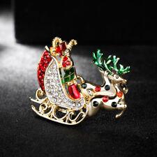 Christmas Reindeer Brooch Pin Jewelry Xmas Ne_ Ag_ Hk- Women Vintage Rhinestone