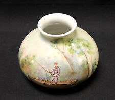 Royal Bayreuth Porcelain Vase Hand-Painted Man Boat Fishing 1794 Bavaria