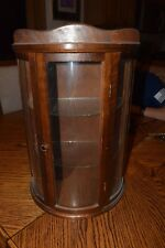 "VINTAGE 18"" HIGH OAK CURVED GLASS CURIO CABINET DISPLAY CASE FOR TABLE OR HANG"