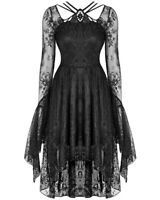 Dark In Love Gothic Lace High Low Dress Black Long Flared Sleeve Witch Vampire