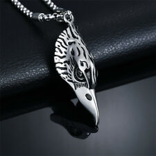 Stainless Steel Pendant Eagle Head with onyx necklace 63cm Bikers Indians