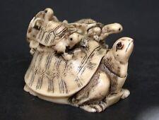 Japanese ivory colored bone netsuke/okimono-3 Baby Turtles on Mother Turtle