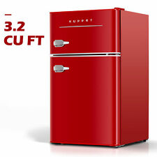 3.2 Cu.Ft Retro Mini Fridge 2-Door Compact Small Refrigerator Home Office Red