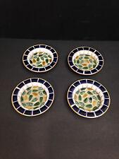 Vintage HOLMAR Mosaic Tile Drink Coasters JAPAN Sunflower Seed HANDCRAFTED
