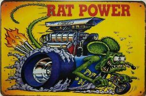 RAT FINK Rustic Look Vintage Tin Metal Sign Man Cave, Shed-Garage & Bar Sign