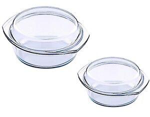 2er Set Schale mit Glasdeckel 1,5L + 0,7L Glas Schüssel mit Deckel NEU