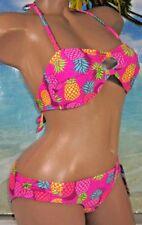 NWT California Waves Swimsuit Bikini 2 piece Set Padded Bra Ties Hot Pink Size S