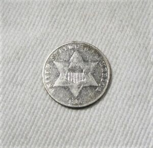 1860 Silver 3 Cents Coin Very Fine Details AK492