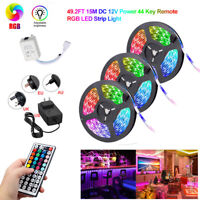 49FT 15M Strip Light Colorful 3528 RGB LED SMD Fairy Lights Remote 12V Power Kit