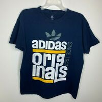 Adidas Originals Mens L Navy Blue Big Spellout Logo Trefoil Short Sleeve Shirt