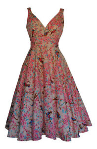 1940s Vintage Oriental Blossom Birds Belted Tea Party Dress BNWT Size UK 8
