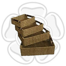 JVL Set of 4 Natural Seagrass Storage Baskets with Wood Handles