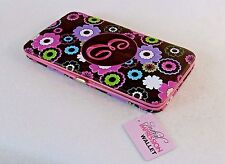 "Ladies Monogram Metal Frame Clutch Wallet, Nylon Shell, Embroidered w/Letter ""E"""