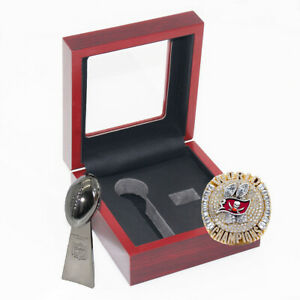 SET Trophy & Ring Tampa Bay Buccaneers 2021 Brady Championship With Box Gift Fan