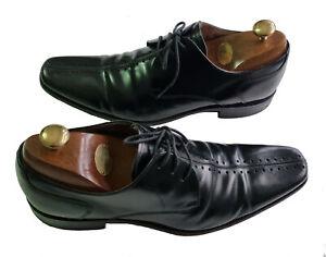 Mens DESIGN LOAKE Premium SEBASTIAN Black Leather Derby/Brogue Shoes UK Size 8
