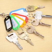Lot Of 10 Plastic Keychain Key Split Ring ID Tags Name Card Label Language Fob