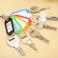 Lot Of 10 Plastic Keychain Key Split Ring ID Tags Name Card Label Language Fob