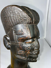 More details for vintage hand carved wooden north african head bust sculpture tribe face markings