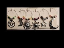 Set of 6 Heavenly Wine Glass Charms Pendant Drink Markers - Moon & Stars