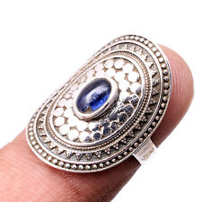 925 Sterling Silver Natural Neon Kyanite Oval Cab Vintage Style Ring S 6.5 Gb-58