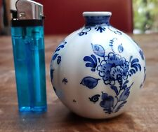 Antique Porcelain Hand-painted Dutch Delft blue Round Kugel Vase 2.75""