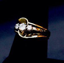 VS2-SI1 14K YELLOW SOLID GOLD HIGH POLISH 3 DIAMOND SWIRL RING .46CTW Beautiful