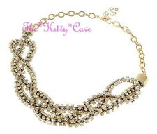 Catwalk Designer 14K Gold Plated Crystal Braided Statement Bib Collar Necklace