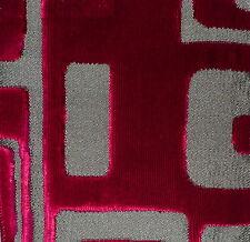 DESIGNERS GUILD Quarenghi geometric red velvet viscose cotton new remnant