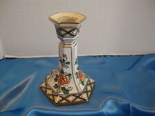 "Hand Painted Nippon Candle Stick Holder w/ Gold Trim - 5"" Tall w/ 3 1/2"" Base"