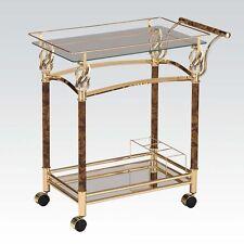 Kitchen Restaurant Dining Serving Cart Gold Plated Bottle Holder w/ Clear Glass