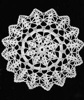 Antique White Hand Crochet Berka Shell Doily 8 inch round table decoration
