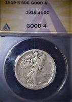 1916-S Walking Liberty Half Dollar ANACS G 4, Tough Date, Issue Free