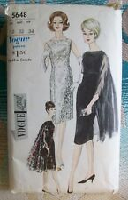 VOGUE Vintage 60s Special Design Pattern 5648 Cocktail Dress Cape Stole 12 Cut