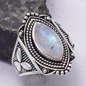 Rainbow Moonstone Ethnic Handmade Ring Jewelry US Size-9 AR 41641