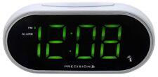 Precision Radio Controlled Digital Green LED Display White Alarm Clock PREC0047