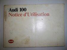 AUDI 100 - Notice d'utilisation 1986 (carnet conduite et entretien, emploi)