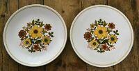 2 x Vintage Ridgway Ironstone Harvest Gold Pattern Salad Plates 22.5cm Diameter