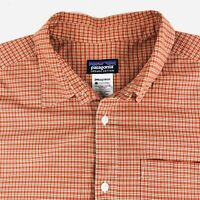 Patagonia Mens Organic Button Shirt Size Medium S/S Outdoor Hiking Micro Check