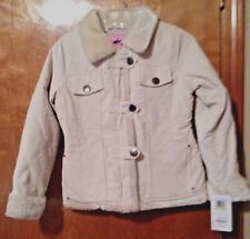 KC Collections Girl's Off White Corduroy Coat with Faux Fur Detail SZ M 10 NEW!