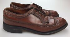 Vintage Stuart Holmes Custom Craft Brown Leather Wing Tips Shoes Size 12 D (USA)