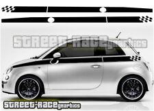 Fiat 500 side Racing Stripes 008 Autocollants Vinyle Graphique Autocollants