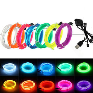 Neon LED Light Glow EL Wire String Strip Rope Tube Decor Party USB Controller