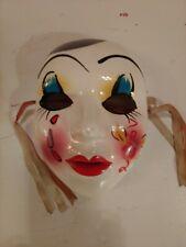 "Mardi Gras MASQUERADE CERAMIC Porcelain MASK Wall Art 7"" Hand Painted Flower"