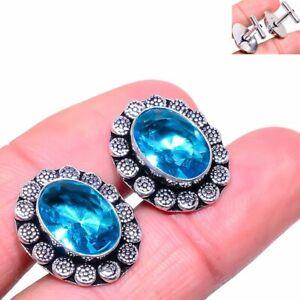 Swiss Blue Topaz Gemstone Handmade 925 Sterling Silver Cufflinks Stnd. W390