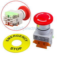 1PC AC 660V 10A Red Mushroom Cap 1NO 1NC DPST Emergency Stop Push Button Switch